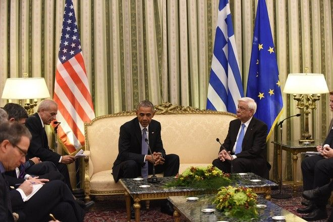 Greek President Prokopis Pavlopoulos meets the President of the United States Barack Obama at Presidential Mansion during a two-day official visit  in Athens, Greece on November 15, 2016. /                         , , 15  2016.