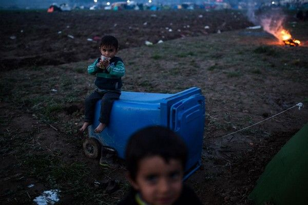 More than 13000 people are stranded near the Greek village of Idomeni under bad weather and living conditions as the Greek-FYR of Macedonia border remains closed for second day on March 8, 2016.