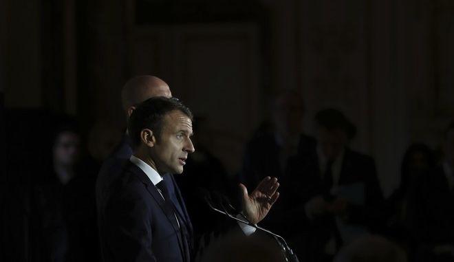 Ο Γάλλος πρόεδρος Εμανουέλ Μακρόν σε συνέντευξη Τύπου στις Βρυξέλλες