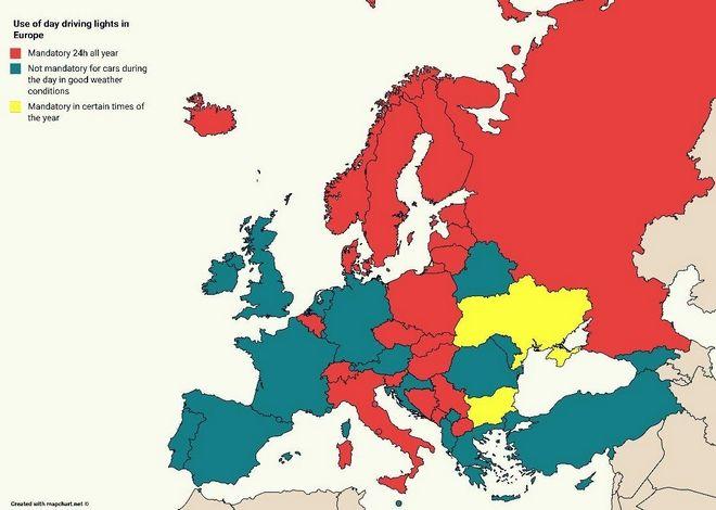 Χάρτης: Σε ποιες χώρες της Ευρώπης πρέπει να έχεις μόνιμα αναμμένα τα φώτα του αυτοκινήτου