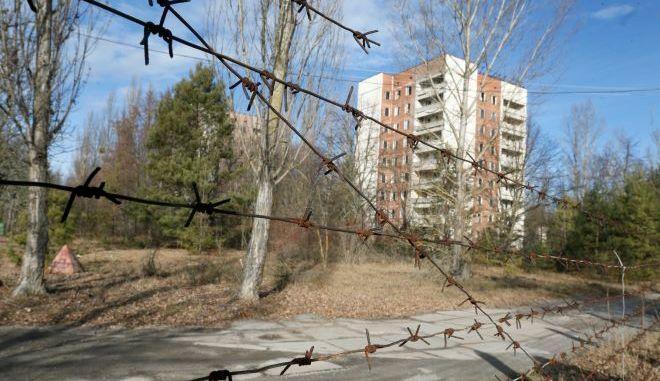 Σπίτια στην ερημική πόλη Pripyat, περίπου 3 χιλιόμετρα από τον πυρηνικό σταθμό του Τσερνομπίλ στην Ουκρανία.