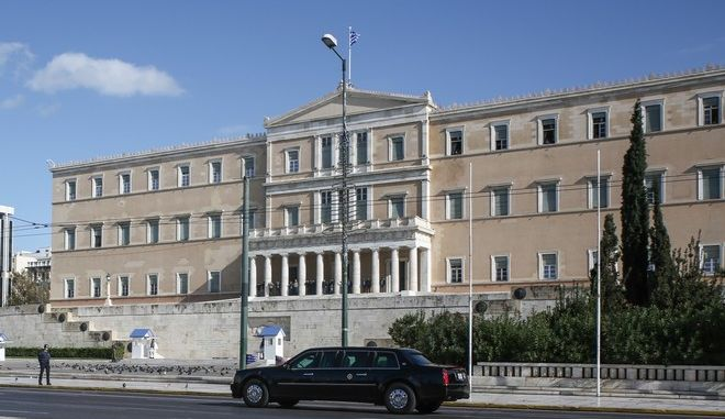Police locksdown Athens centre as a security measure for the arrival of US President Barack Obama /