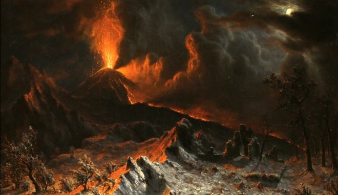 """An 1868 painting called """"Mount Vesuvius at Midnight"""" by Albert Bierstadt is shown during an exhibition called """"The Last Days of Pompeii: Decadence, Apocalypse, Resurrection"""" at The Cleveland Museum of Art Friday, Feb. 22, 2013, in Cleveland. Bierstadt witnessed the 1868 eruption of Mount Vesuvius. The exhibition will be on view from Feb. 24 through July 7, 2013. (AP Photo/Tony Dejak)"""