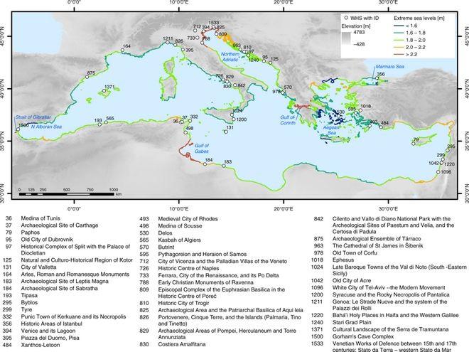 Ο χάρτης με τα μνημεία της UNESCO που κινδυνεύουν από την άνοδο της στάθμης της θάλασσας
