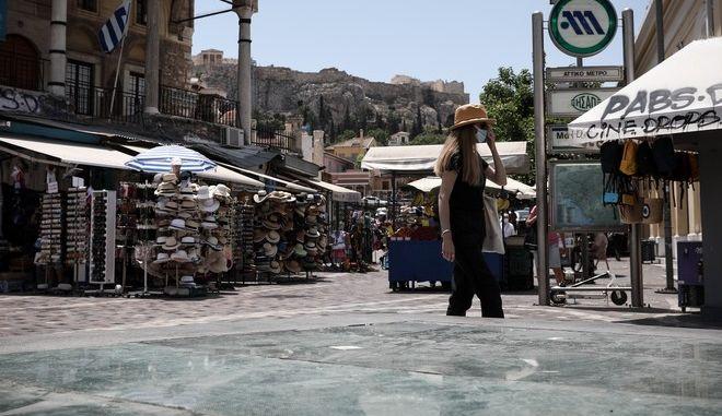 Εικόνα από το κέντρο της Αθήνας σε καιρό κορονοϊού