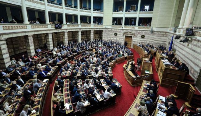 Ανάγνωση και συζήτηση επί των Προγραμματικών Δηλώσεων της Κυβερνήσεως. Στιγμιότυπο από την Ολομέλεια