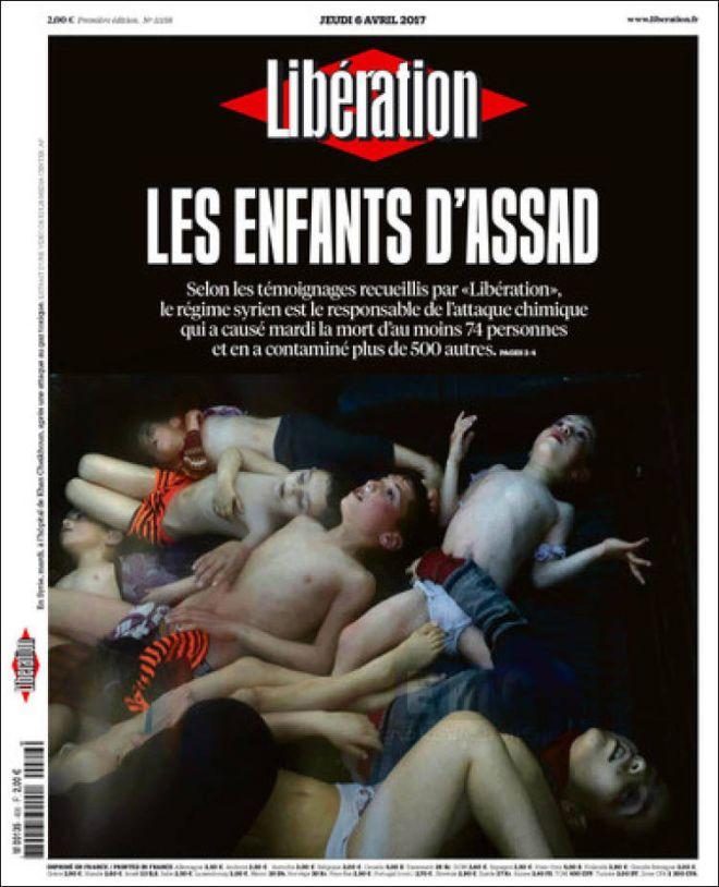 Το πρωτοσέλιδο - γροθιά της Liberation για τα 'παιδιά του Άσαντ'