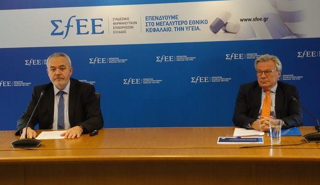 Από αριστερά: Ο πρόεδρος του ΣΦΕΕ Ολύμπιος Παπαδημητρίου και ο γενικός διευθυντής Μιχάλης Χειμώνας