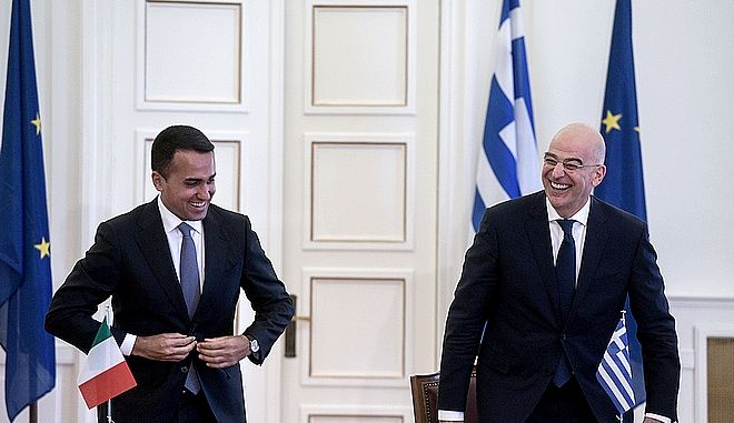 Συνάντηση του υπουργού Εξωτερικών, Νίκου Δένδια, με τον υπουργό Εξωτερικών της Ιταλίας, Luigi Di Maio την Τρίτη 9 Ιουνίου 2020. (EUROKINISSI/ΤΑΤΙΑΝΑ ΜΠΟΛΑΡΗ)