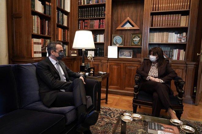 Συνάντηση Κυριάκου Μητσοτάκη και Κατερίνας Σακελλαροπούλου