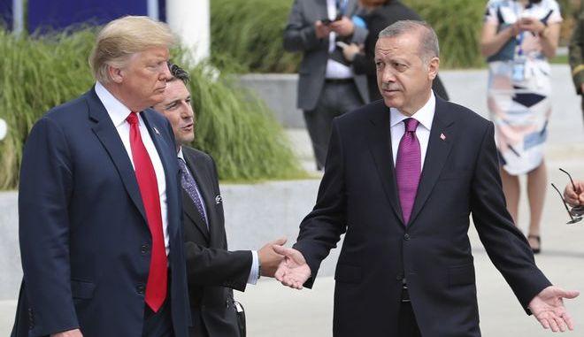 Ο πρόεδρος των ΗΠΑ Ντόναλντ Τραμπ και ο πρόεδρος της Τουρκίας Ρετζέπ Ταγίπ Ερντογάν