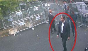 """Καρέ από κάμερα ασφαλείας που ελήφθη στις 2 Οκτωβρίου και δημοσιεύθηκε την Πέμπτη 18 Οκτωβρίου στην τουρκική εφημερίδα Sabbah. Ο άνδρας φαίνεται να είναι ο Μαχέρ Αμπντουλαζίζ Μουτρέμπ, ο """"συνταγματάρχης"""" των μυστικών υπηρεσιών της Σαουδικής Αραβίας."""