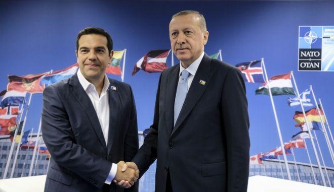 Συνάντηση του Πρωθυπουργού Αλέξη Τσίπρα με τον Τούρκο πρόεδρο, Ταγίπ Ερντογάν στα πλαίσια της Συνόδου Κορυφής του ΝΑΤΟ στις Βρυξέλλες
