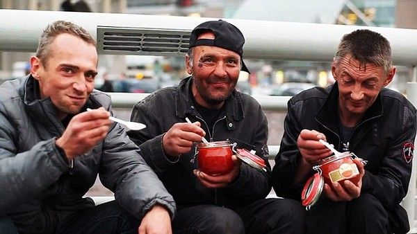 Pic shows: Grisha Mamurin giving caviar to homeless people.  A cruel, rich kid video maker finally got his just desserts when he approached a man asking him to drink urine for money.  Grisha Mamurin, 16, grandson of Russian billionaire Igor Nekludov, is making sick short films about what desperate people will do for cash.  But he got smashed to the ground when he approached a man sitting on a park bench and offered him 130 GBP to drink his wee on film.  Cocky Grisha, whose videos have had 600,000 hits, felt the full force of the mans right hook and went tumbling over in a park in Moscow, Russia, and then ran off nursing a black eye.  Unrependent he said: