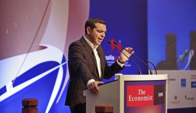 Στιγμιότυπο από την ομιλία του πρωθυπουργού, Αλέξη Τσίπρα