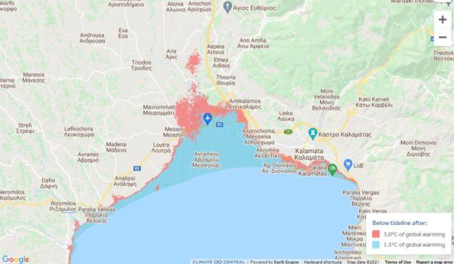 Χάρτης: Η κλιματική αλλαγή θα βουλιάξει τη Θεσσαλονίκη μέχρι το 2050