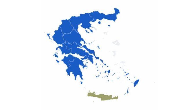 Περιφερειακές εκλογές 2019 - Β' γύρος: Ο χάρτης της Ελλάδας στο 74% της ενσωμάτωσης