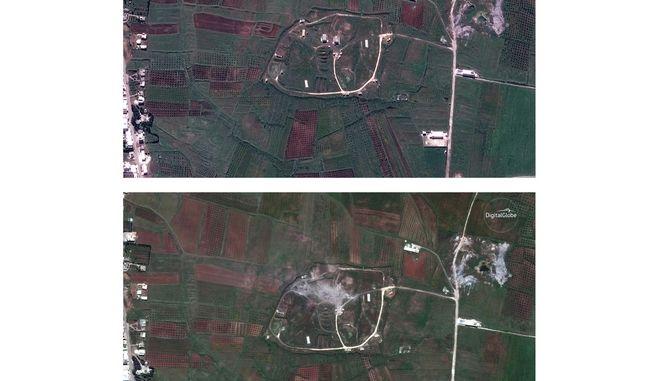 Δορυφορικές απεικονίσεις των επιθέσεων στη Συρία
