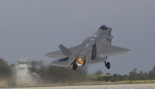 """Άσκηση """"Ηνίοχος 2019"""" στην αεροπορική βάση της Ανδραβίδας - Αεροσκάφος F35"""