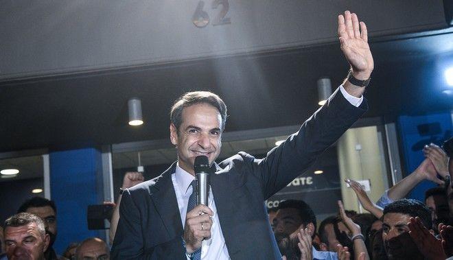 Ο Κυριάκος Μητσοτάκης τη βραδιά των εκλογών του Ιουλίου 2019