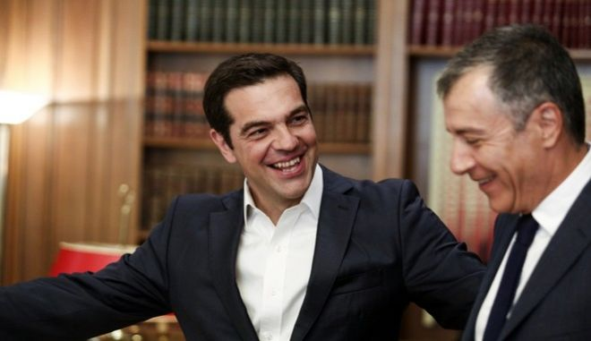 Meeting of the Prime Minister of Greece Alexis Tsipras with the leader of the To Potami Party Stavros Theodorakis, in Athens, on June 19, 2017 /            ,  ,  19  2017