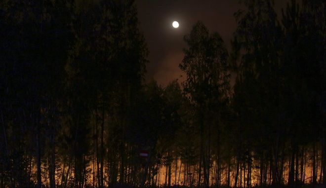 The moon rises behind eucalyptus trees silhouetted against a wildfire near Abrantes, central Portugal, Thursday night, Aug. 10, 2017. Wildfires flared across Portugal on Thursday following a rise in temperatures and strong winds, ending days of cooler weather that had brought a brief respite from a spate of blazes. (AP Photo/Armando Franca)