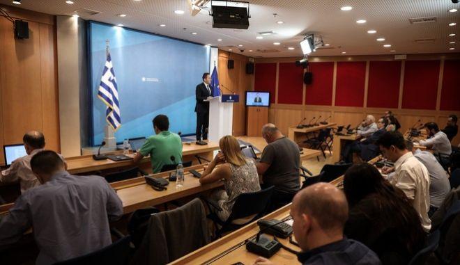 Ενημέρωση των πολιτικών συντακτών από τον κυβερνητικό εκπρόσωπο Στέλιο Πέτσα την Τετάρτη 4 Σεπτεμβρίου 2019.