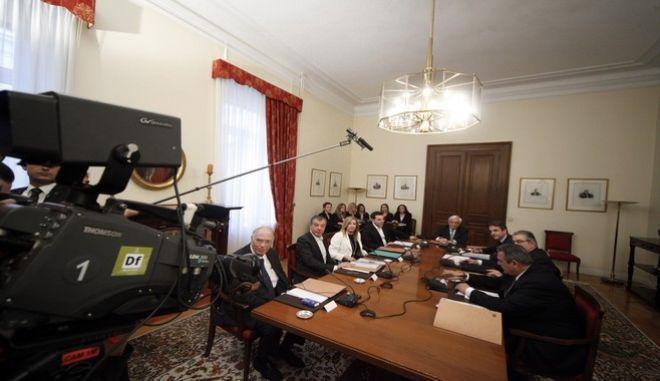 Συμβούλιο πολιτικών αρχηγών, υπό τον Πρόεδρο της Δημοκρατίας, Προκόπη Παυλόπουλο, με αντικείμενο το προσφυγικό, την Παρασκευή 4 Μαρτίου 2016. (EUROKINISSI/ΓΙΩΡΓΟΣ ΚΟΝΤΑΡΙΝΗΣ)