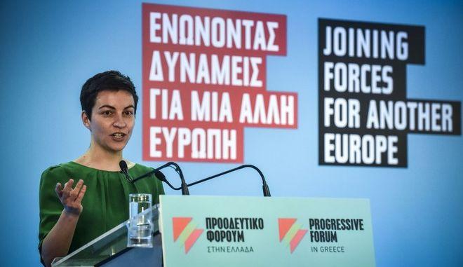 """Το παρόν και το μέλλον της Ευρώπης και η προοπτική της ενωτικής δράσης των προοδευτικών δυνάμεων, αποτελούν το αντικείμενο της διήμερης διεθνούς συνάντησης: """"Ενώνοντας δυνάμεις για μια άλλη Ευρώπη"""" του Προοδευτικού Φόρουμ που διοργανώνεται στην Αθήνα.Δέυτερη ημέρα των εργασιών , Σάββατο 17 Μαρτίου 2018. Στη φωτό η Σκα Κέλερ, Ευρωβουλευτής Πρασίνων Γερμανίας, Συμπρόεδρος Ομάδας Πρασίνων/Ευρωπαϊκής Ελεύθερης Συμμαχίας. (EUROKINISSI/ΤΑΤΙΑΝΑ ΜΠΟΛΑΡΗ)"""