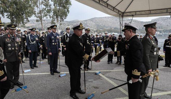 Τελετή παράδοσης - παραλαβής καθηκόντων Αρχηγού Στόλου στο Ναύσταθμο Σαλαμίνας, την Δευτέρα 27 Ιανουαρίου 2020. (EUROKINISSI/ΣΤΕΛΙΟΣ ΜΙΣΙΝΑΣ)