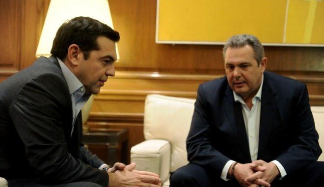 Στιγμιότυπο από παλαιότερη συνάντηση του πρωθυπουργού, Αλέξη Τσίπρα, με τον Πάνο Καμμένο