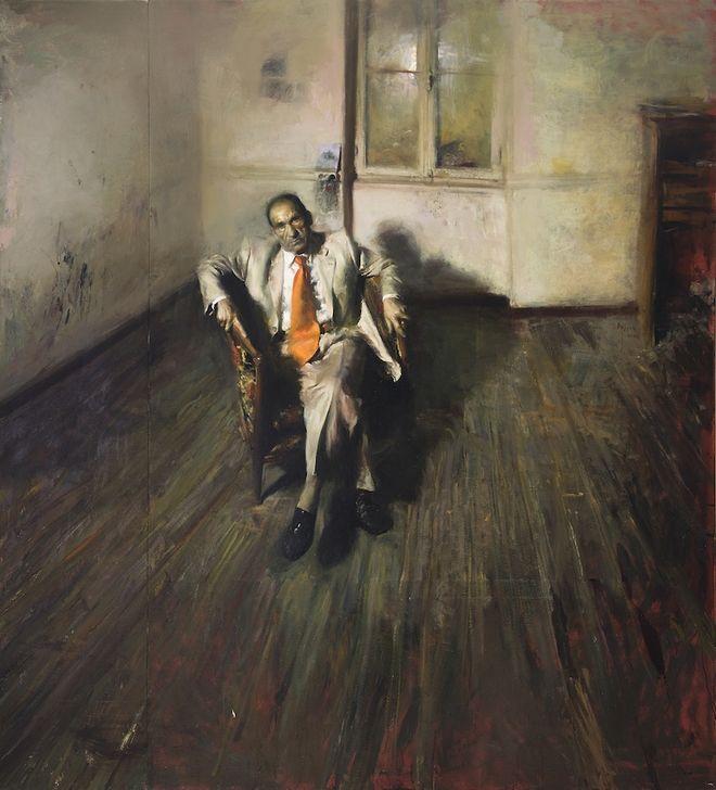 Πορτραίτο του Τάκη Πιτσελά με πορτοκαλί γραβάτα (2005) του Γιώργου Ρόρρη, Λάδι σε καμβά