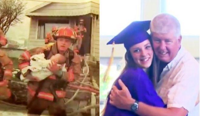 Πυροσβέστης πήγε στην αποφοίτηση κοριτσιού που έσωσε 17 χρόνια πριν