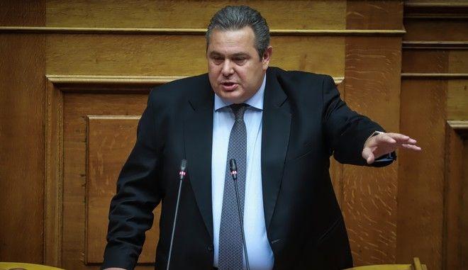 Ο πρόεδρος των ΑΝΕΛ, Πάνος Καμμένος στη συζήτηση στην Ολομέλεια της Βουλής για τον προϋπολογισμό του 2019