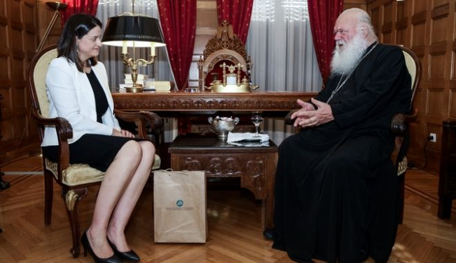Συνάντηση του Αρχιεπισκόπου Αθηνών και πάσης Ελλάδος Ιερωνύμου με την υπουργό Παιδείας και Θρησκευμάτων Νίκη Κεραμέως την Τετάρτη 17 Ιουλίου 2019. (EUROKINISSI/ΓΙΑΝΝΗΣ ΠΑΝΑΓΟΠΟΥΛΟΣ) (EUROKINISSI/ΓΙΑΝΝΗΣ ΠΑΝΑΓΟΠΟΥΛΟΣ)