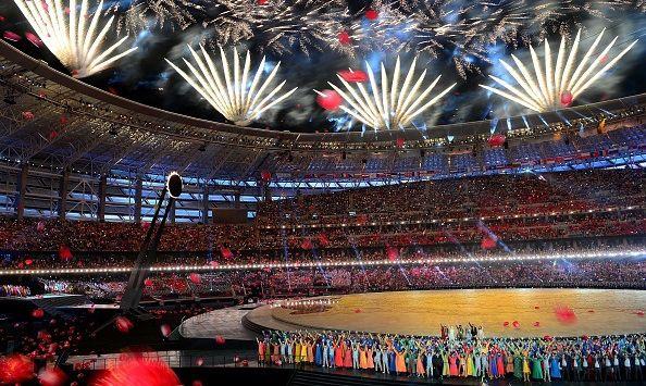 BAKU, AZERBAIJAN - JUNE 12: Fireworks explode over the Heydar Aliyev Arena during the Opening Ceremony of the Baku 2015 First European Games on June 12, 2015 in Azerbaijans capital Baku. (Photo by Fatih Aktas/Anadolu Agency/Getty Images)