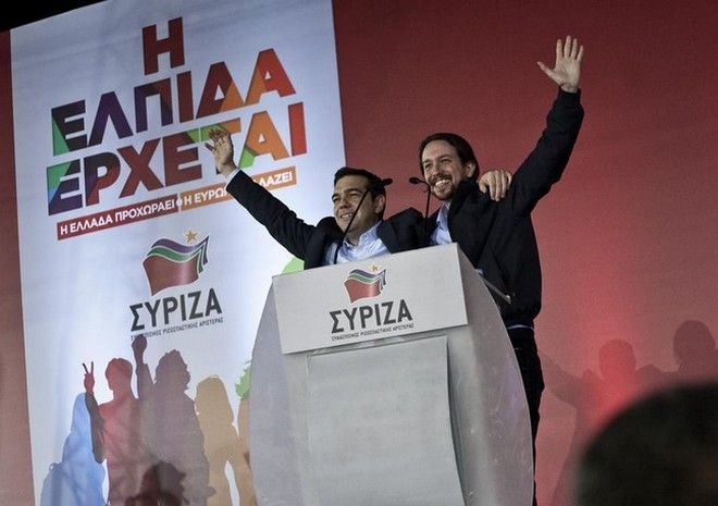 The president of SYRIZA coalition, Alexis Tsipras, speaks to supporters at the party`s main pre-election rally in Omonia, Athens, on Jan. 22, 2015 /    ,  ,           , ,  22 , 2015