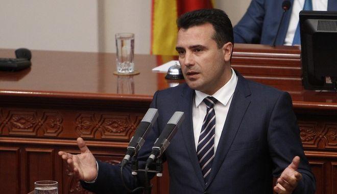 Ο πρωθυπουργός της πΓΔΜ, Ζόραν Ζάεφ στη βουλή στα Σκόπια