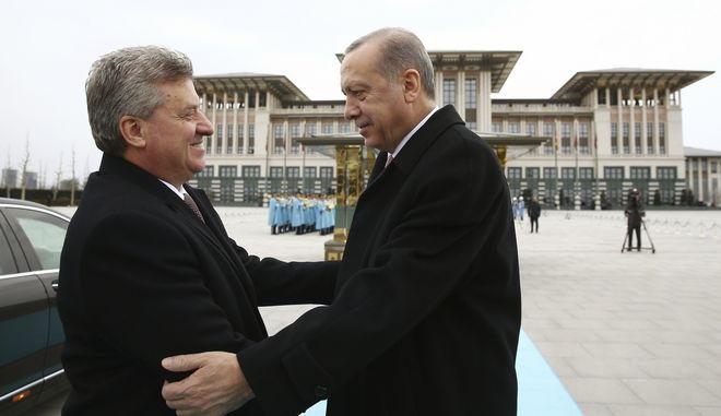 Ο πρόεδρος της Τουρκίας κατά την υποδοχή του Προέδρου της πΓΔΜ στην Άγκυρα τον Φεβρουάριο του 2018