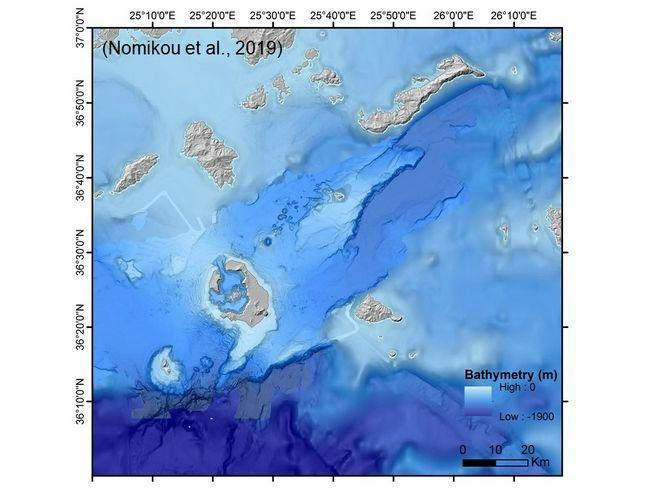 Οι επιστήμονες θέλουν να κάνουν έρευνες σε όλο το ηφαιστειακό πεδίο της περιοχής Χριστιανών-Σαντορίνης-Κολούμπου.