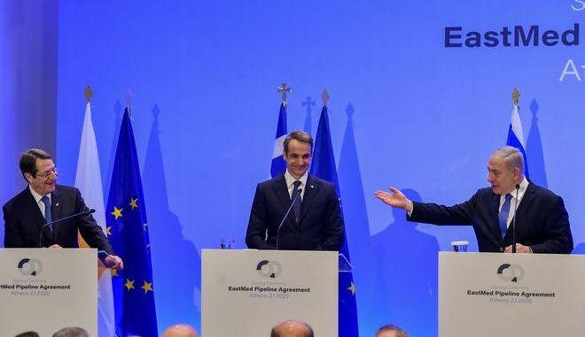 Τελετή υπογραφής διακρατικής συμφωνίας για τον αγωγό EAST MED μεταξύ Ελλάδας Κύπρου και Κύπρου. (EUROKINISSI/ΜΠΟΛΑΡΗ ΤΑΤΙΑΝΑ )
