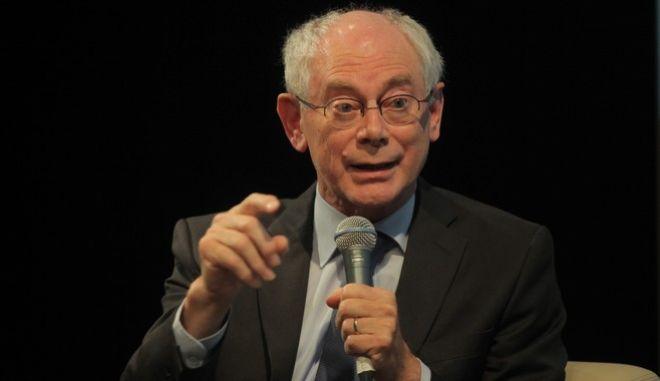 """ΑΘΗΝΑ-Παρουσίαση του βιβλίου του Προέδρου του Ευρωπαϊκού Συμβουλίου Herman Van Rompuy """"Η Ευρώπη στη θύελλα -Υποσχέσεις και προκαταλήψεις"""". Η παρουσίαση έγινε σήμερα Παρασκευή 7 Νοεμβρίου 2014,  στο Auditorium Theo Angelopoulos του Γαλλικού Ινστιτούτου.Ομιλητές: Herman Van Rompuy, Πρόεδρος του Ευρωπαϊκού Συμβουλίου, Λουκάς Τσούκαλης, Καθηγητής Ευρωπαϊκής Οργάνωσης στο Πανεπιστήμιο Αθηνών, Πρόεδρος του ΕΛΙΑΜΕΠ, Αλέξης Παπαχελάς, Διευθυντής της εφημερίδας Η Καθημερινή.(EUROKINISSI-ΚΩΣΤΑΣ ΚΑΤΩΜΕΡΗΣ)"""