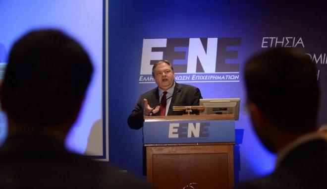 Στιγμιότυπο από την ομιλία του προέδρου του ΠΑΣΟΚ Ευαγ. Βενιζέλου στην ετήσια οικονομική διάσκεψη της Ελληνικής Ένωσης Επιχειρηματιών την Πέμπτη 18 Απριλίου 2013. (EUROKINISSI/ΒΑΣΙΛΗΣ ΚΟΥΤΡΟΥΜΑΝΟΣ)