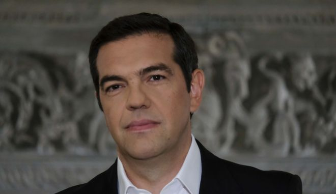 O πρωθυπουργός Αλέξης Τσίπρας κατά το διάγγελμα για το Σκοπιανό