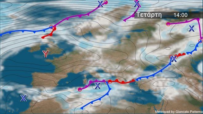 Μεταβολή του καιρού από τα δυτικά την Τετάρτη με βροχές και σποραδικές καταιγίδες