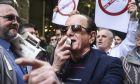 Ο Θύμιος Λυμπερόπουλος σε συγκέντρωση οδηγών ταξί (Φωτογραφία αρχείου)