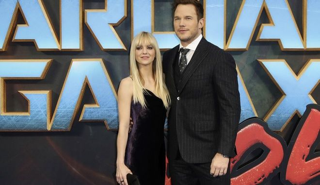 """FILE- In this April 24, 2017, file photo, actors Anna Faris, left, and Chris Pratt pose for photographers upon arrival at the premiere of the film """"Guardians of the Galaxy Vol.2"""" in London. Pratt and Faris have announced they are separating after eight years of marriage. The actors announced their breakup on social media Sunday, Aug. 6, in a joint statement confirmed by Pratts publicist. (Photo by Vianney Le Caer/Invision/AP, File)"""
