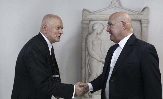 Meeting between the Greek  Minister of Economy and Development and the French Minister of Finance, Michel Sapin, in Athens, on March 3, 2017 /      ,       ,  ,  ,  3 , 2017
