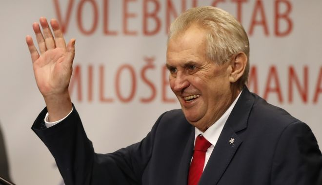 The pro-Russian Incumbent Milos Zeman greets spectators while claiming victory in the Czech presidential election in Prague, Czech Republic, Saturday, Jan. 27, 2018.The Czech Republic's pro-Russia president won a second five-year term Saturday after beating a political newcomer viewed as more Western-oriented in a runoff vote. With ballots from almost 99 percent of polling stations counted, the Czech Statistics Office said President Milos Zeman had received 51.6 percent of the vote during the two-day runoff election. (AP Photo/Petr David Josek)