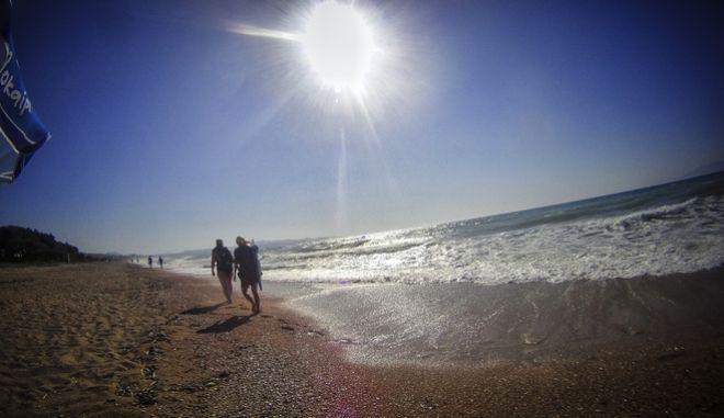 Στιγμιότυπο από την παραλία του Αλμυρού στην Κέρκυρα